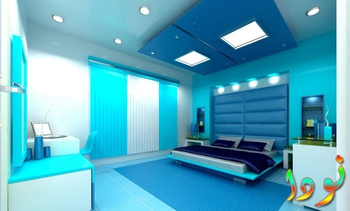 سقف جبس معلق في غرفة النوم باللون الأزرق