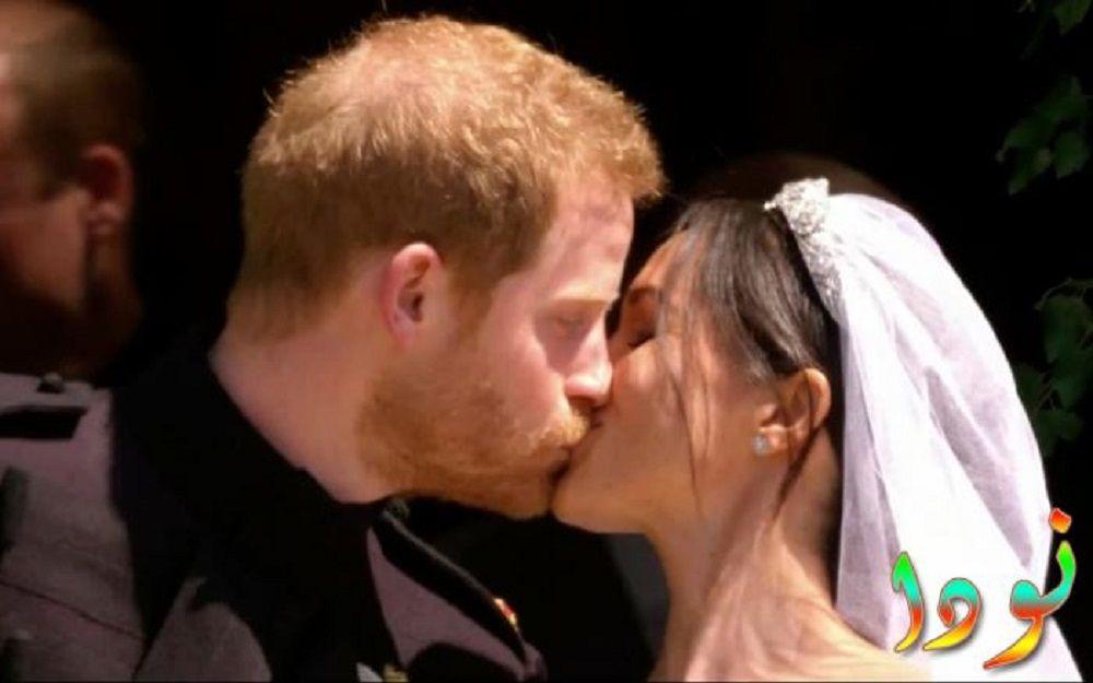 الأمير هاري وميغان ماركل قبلة بعد حفل زفافهما