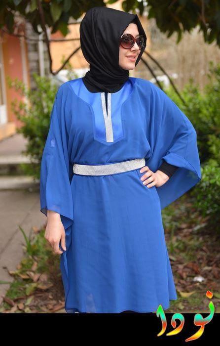 بلوزة شيفون زرقة طويلة
