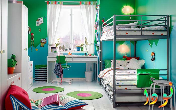 ديكور غرفة نوم أولادي لطفلين باللون الأخضر