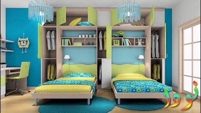 غرفة نوم أطفال بسريرين للتوأم