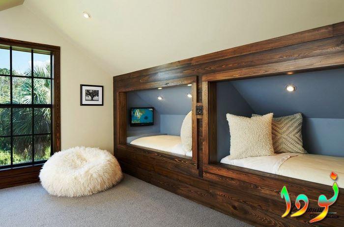 غرفة نوم أطفال بسريرين للغرف الصغيرة