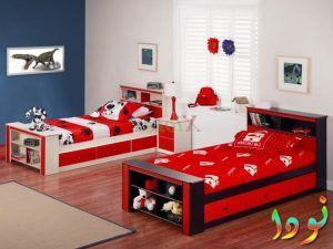 غرفة نوم بسريرين للولاد