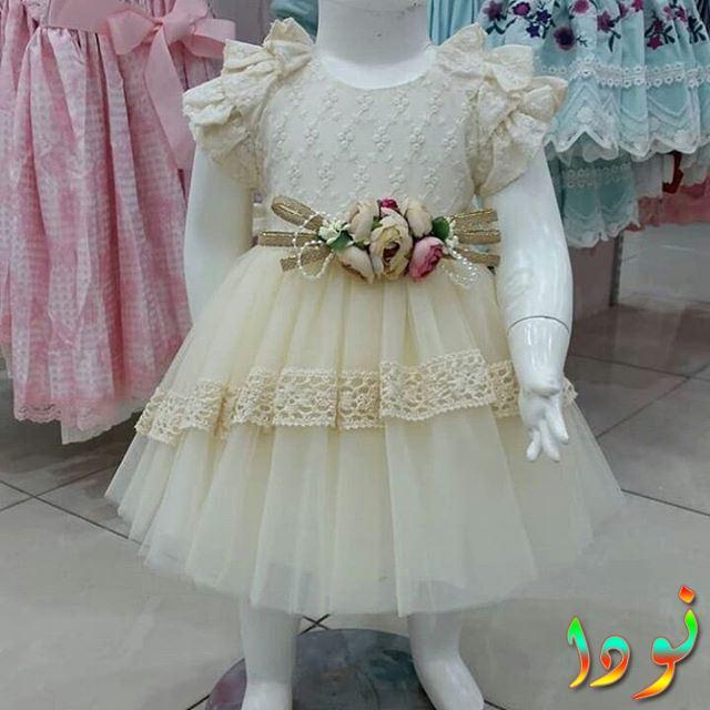 فستان العيد باللون البيج الجميل