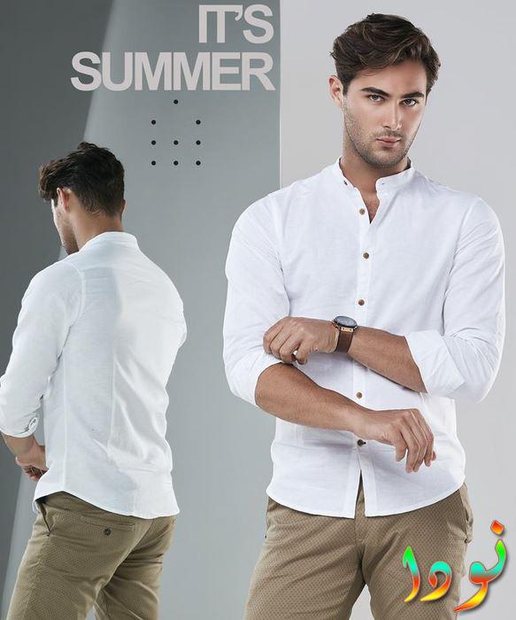 قميص أبيض قطن بنطالون قماش جبردين بيج غامق