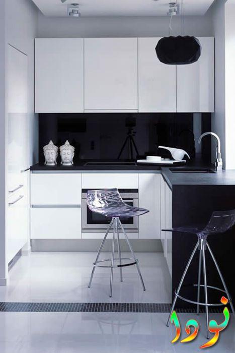 مطبخ مودرن أبيض اللون