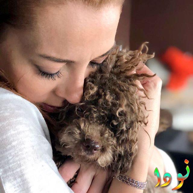 صورة لدولناي سويسرت مع كلبها