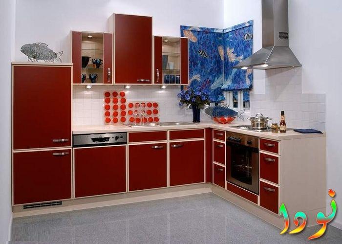 مطبخ رخامي متقفل الوميتال أحمر