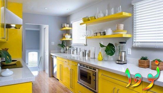 مطبخ رخام أبيض متقفل بالومنتال أصفر