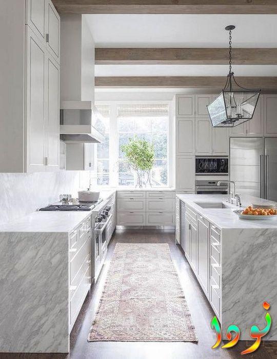 مطبخ رخام راقي باللون الأبيض