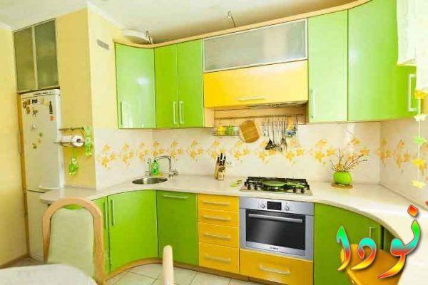 مطبخ رقيق متقفل ألوميتال أخضر في أصفر