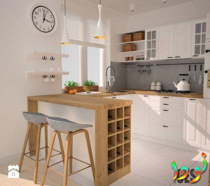 مطبخ صغير خشب أبيض مفتوح