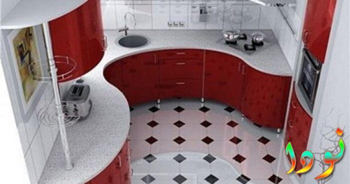 مطبخ متقفل بالرخام مع الوميتال أحمر رائع