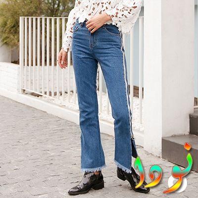 بنطلون جينز ذو شريط جانبي بطول البنطلون