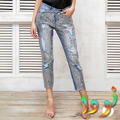 بنطلون جينز واسع مع الترتر المطرز