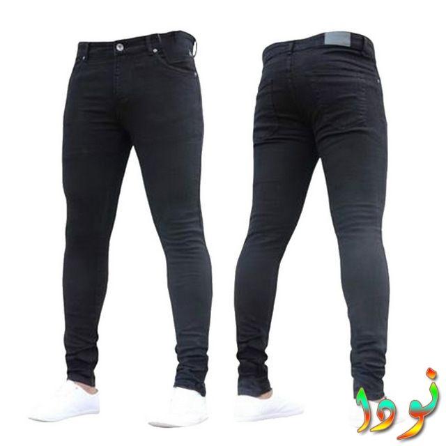 بنطلون نحيل ممزق جينز عادي أسود
