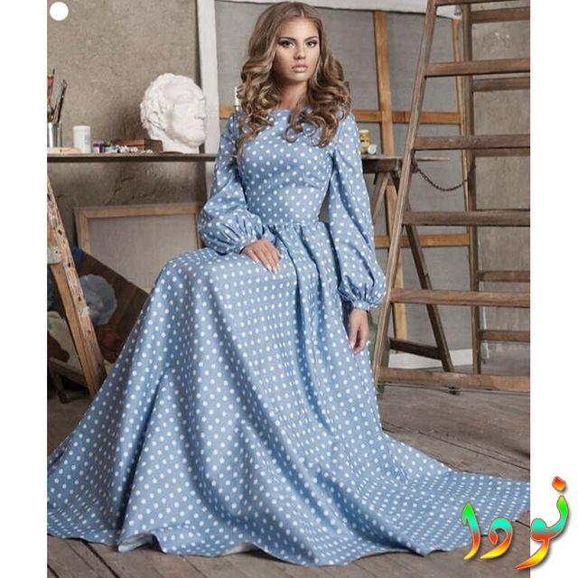 تصميم جديد لفستان ماكسي طويل منفوخ الأكمام من القطن باللون الأزرق