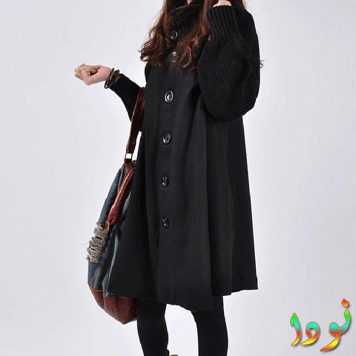 سترة أو معطف طويل أسود فضفاض من الصوف الثقيل