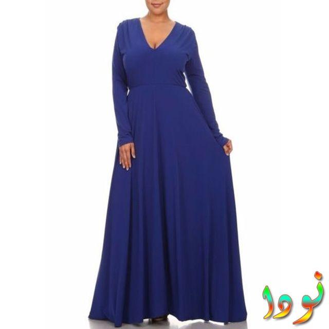 فستان أزرق حجم كبير شتوي للمناسبات