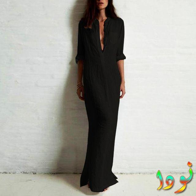 فستان أسود بكم طويل قطن مفتوح الصدر