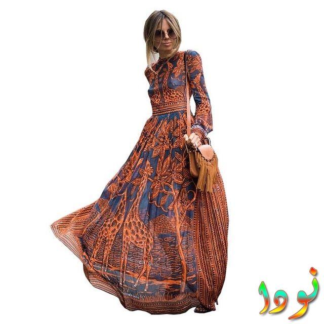 فستان خريفي شيفون طويل الأكمام ماكسي