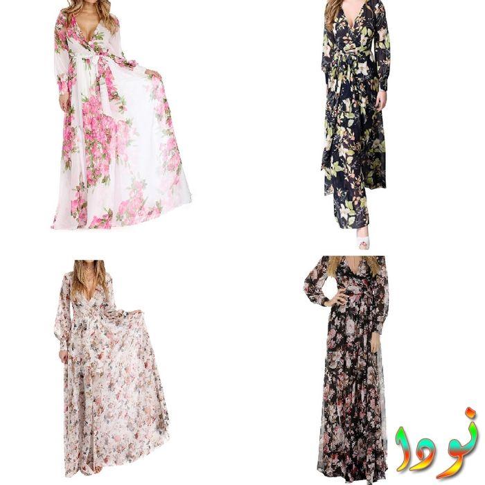 فستان فضفاض مطبوع بالأزهار طويل ماكسي