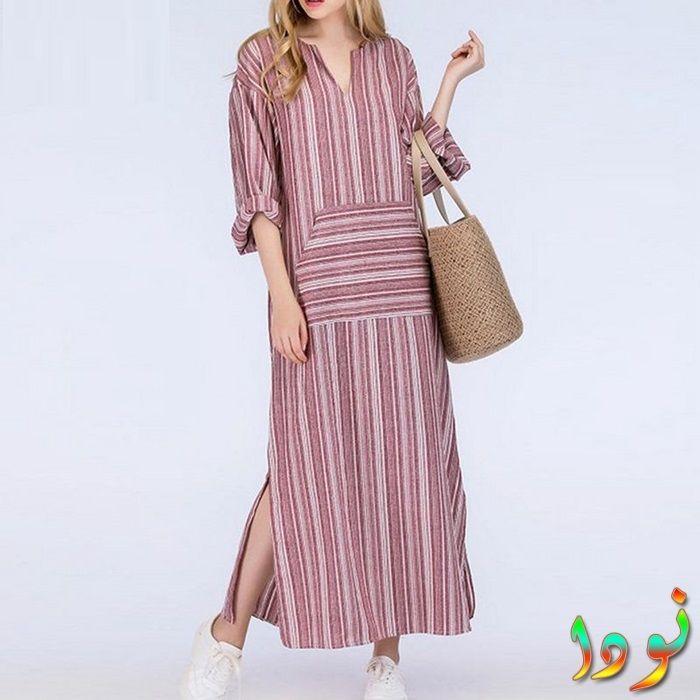 فستان من القماش الكتان المخطط فضفاض