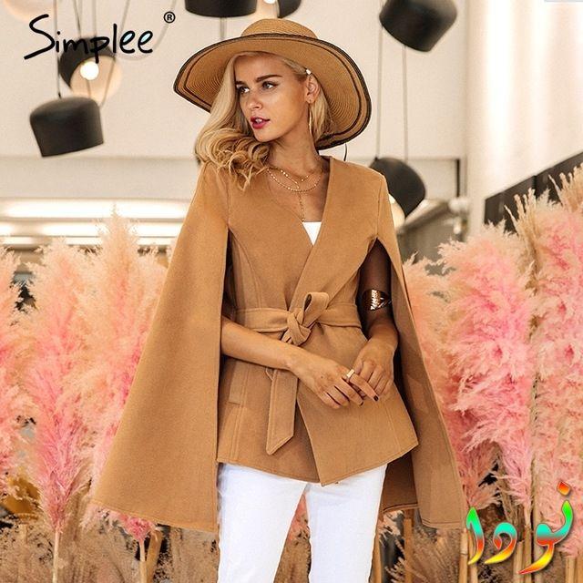 معطف خريفي أنيق باللون الجملي ذو أكمام طويل مفتوحة