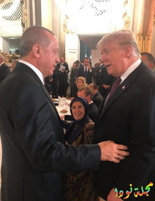 الرئيس أردوغان يتجاذب أطراف الحديث مع نظيره الأمريكي دونالد ترامب