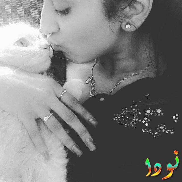 الفنانة شيفاني سورف مع قطتها