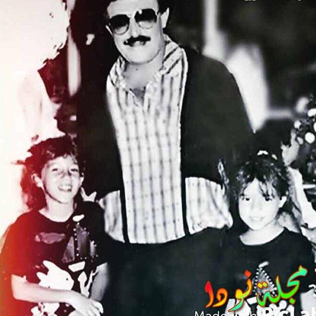 صورة تجمع سمير غانم بأبنتيه وهن صغار