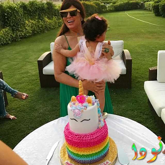 فيفي عبده وحفيدتها في عيد ميلادها