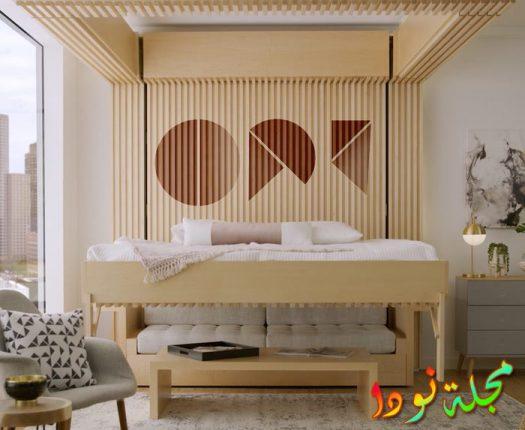 خلفية خشب وراء السرير