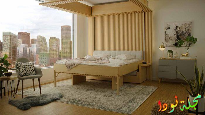 سرير من الخشب مع ديمور خشبي
