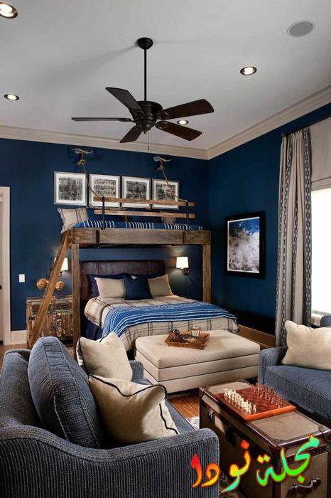 غرفة أولاد بديكور باللون الأزرق