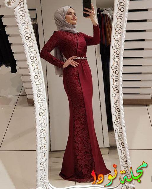 حجاب رمادي مع حزام