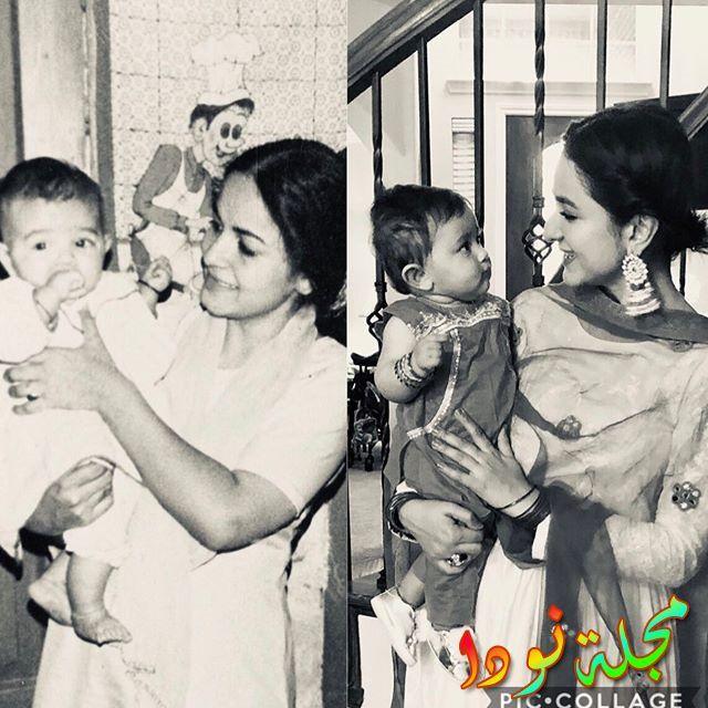 يمنى زيدي وهي صغيرة مع والدتها
