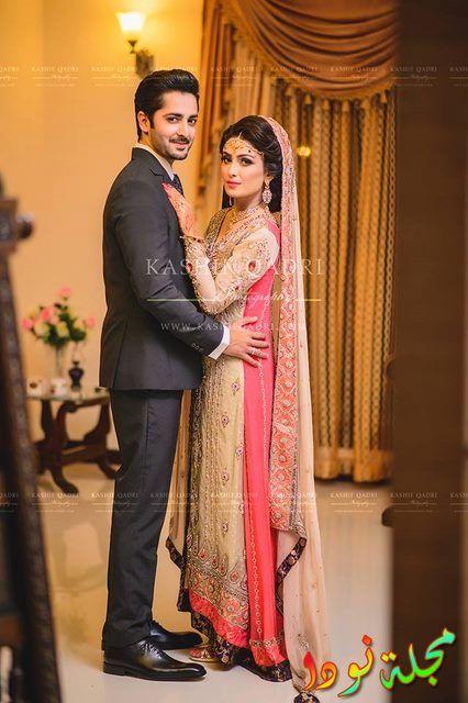 ايزا وزوجها في حفل زفافهم