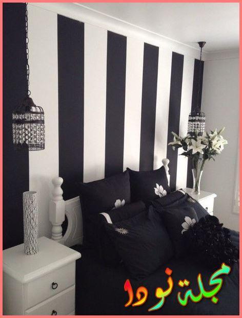 ديكورات شقق مودرن ألوان الحائط تقليمة أبيض في اسود