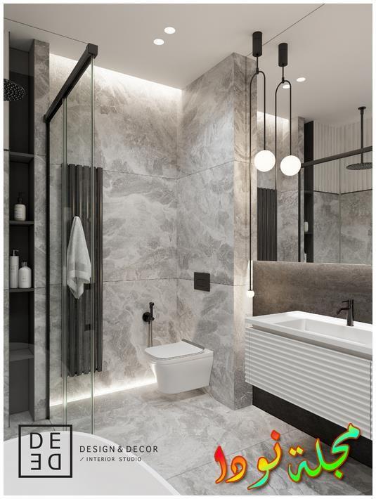 أرضية رمادية متواضعة وصورة حمام مزدوج