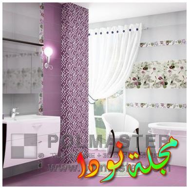 بلاط رائع وصورة حمام بيج مع خزانات شاكر