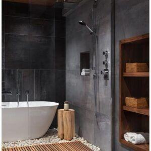 حمامات ديكورات سيراميك مودرن تصميم رخامي ألوان موزاييك زجاج جاكوزي